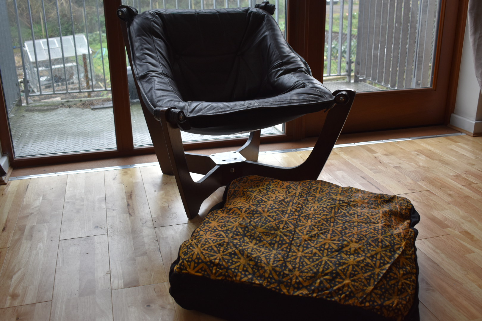 Large adire floor cushion - Cool ochre