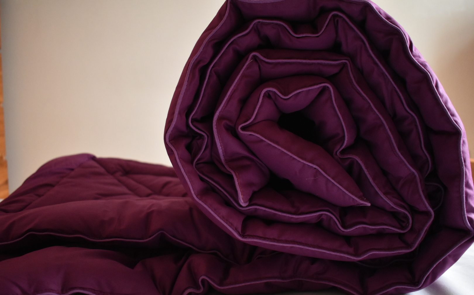 Luxury royal purple coverless duvet
