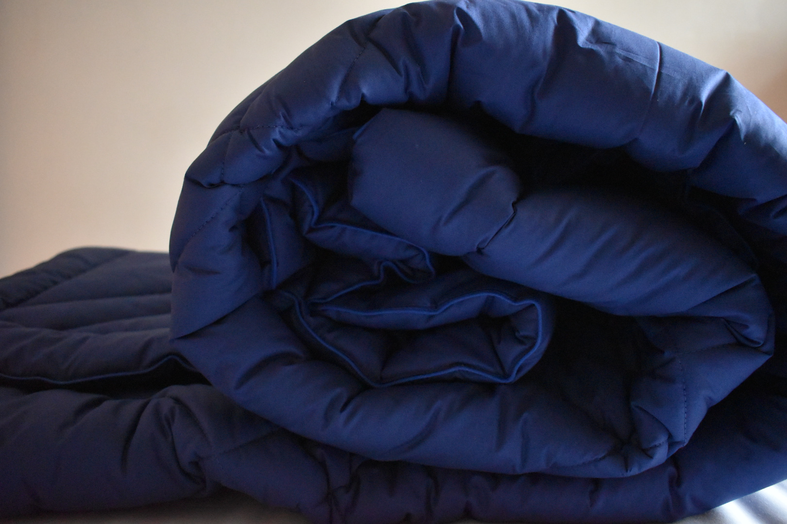 Luxury navy blue coverless duvet