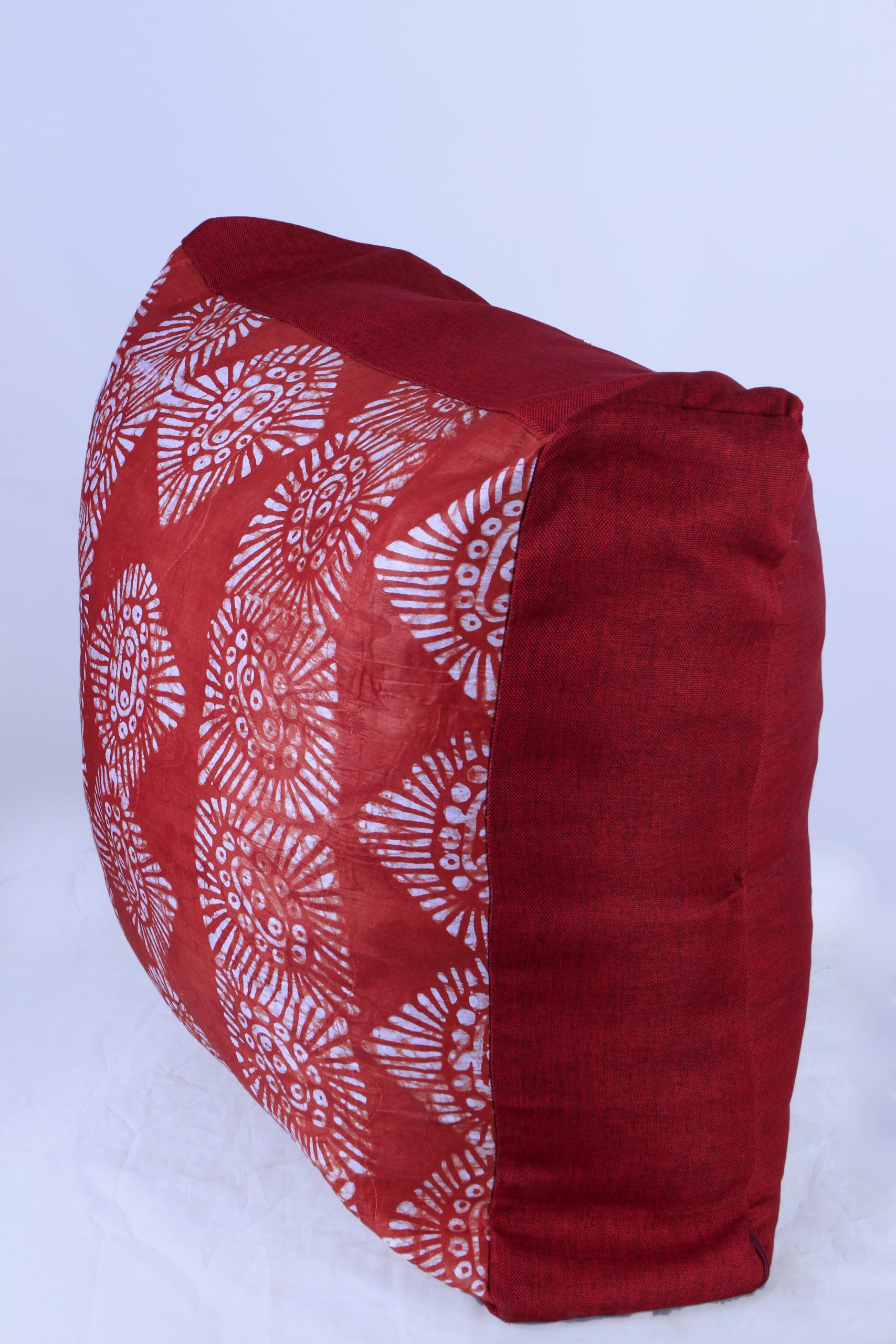 Large adire floor cushion - Cherry red