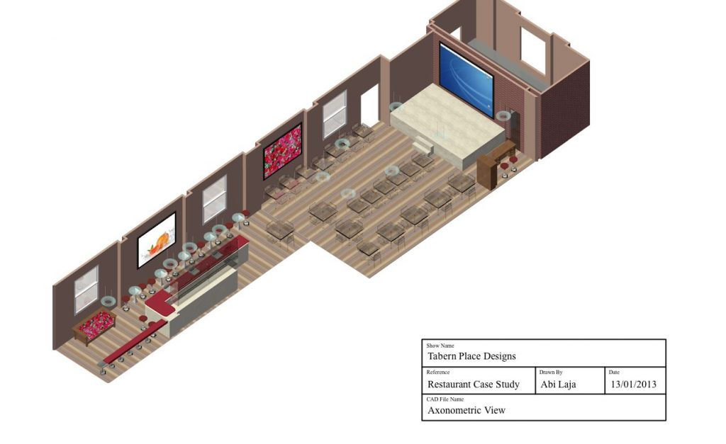 Perspective drawing of restaurant