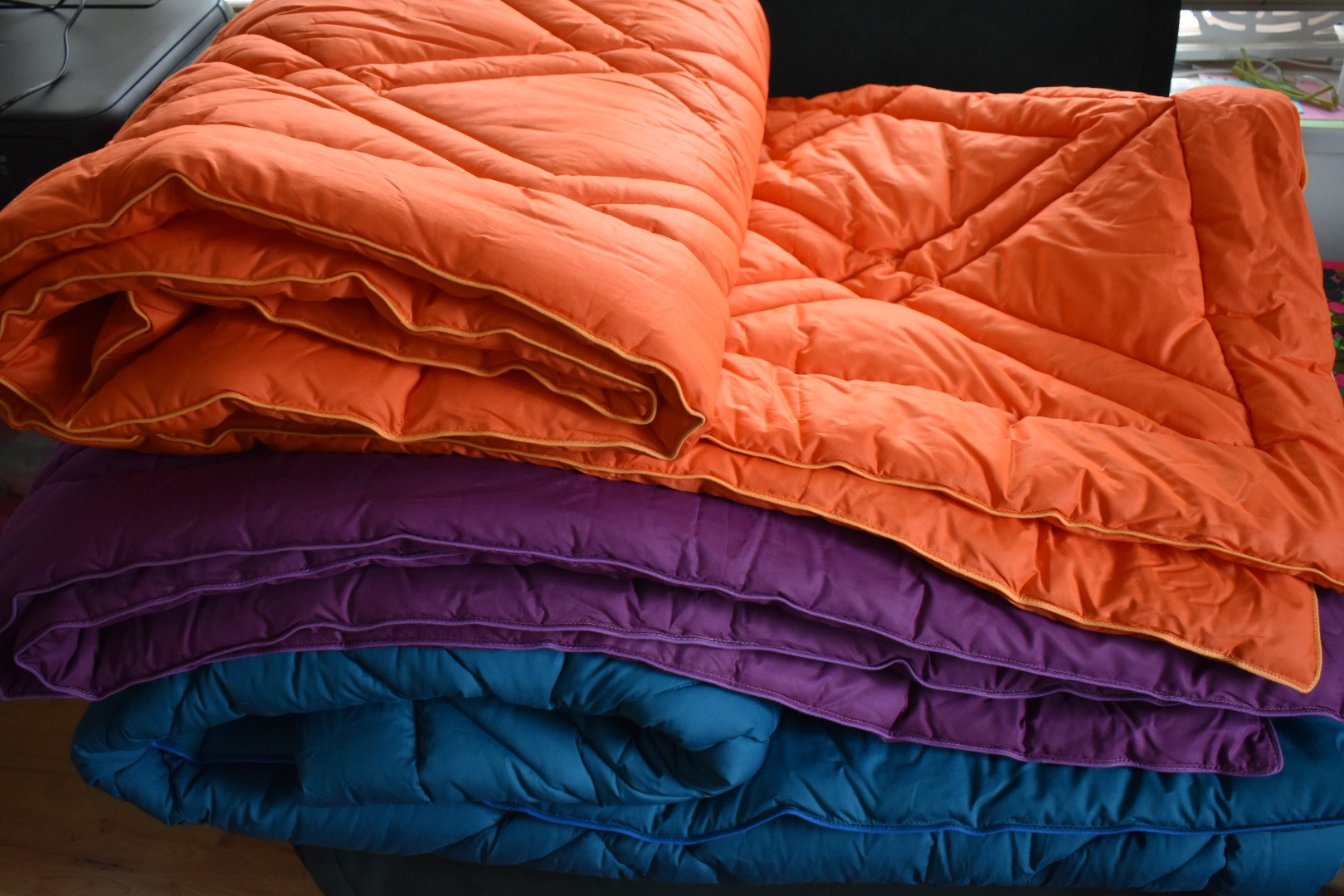 Coverless duvets Orange and Purple and Teal12
