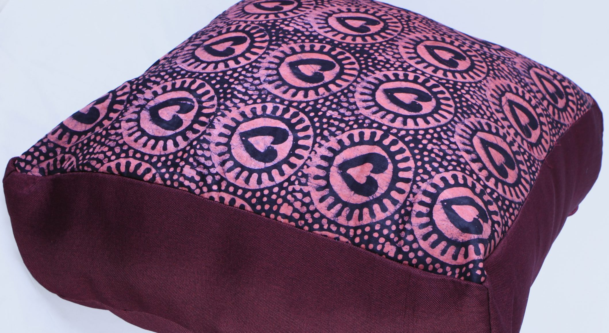 Exotic adire cushion plum hearts2